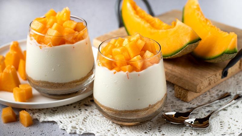 Bicchierini dolci yogurt e melone