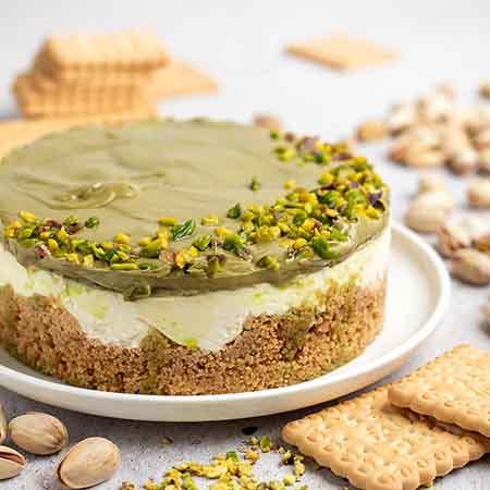 Cheesecake con crema di pistacchio