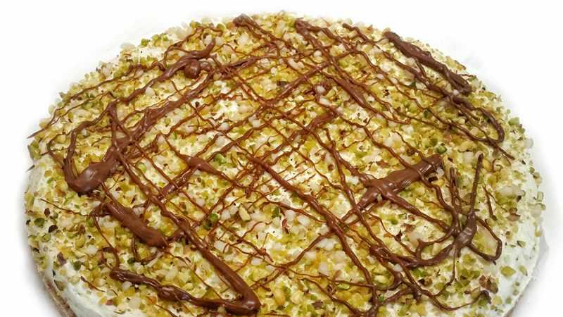 Cheesecake con granella di pistacchio