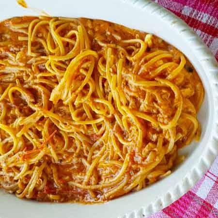 Linguine al tonno, pomodorini e basilico