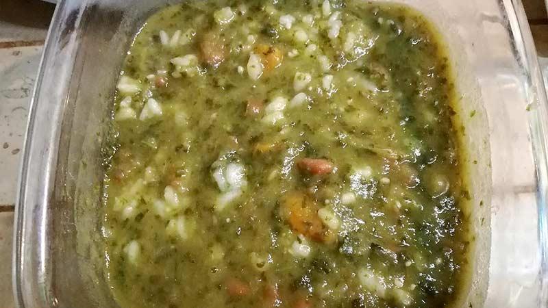 Minestrone di verdure e fagioli con riso