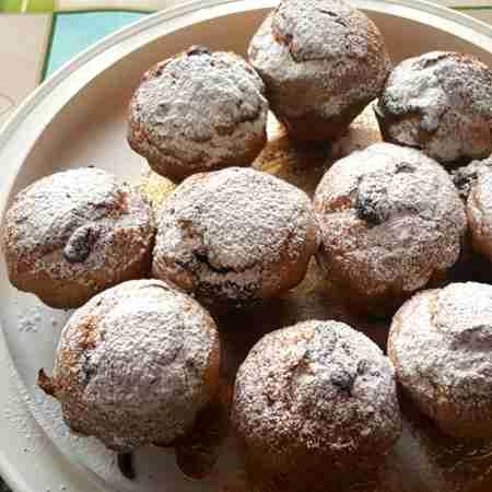 Muffin al pistacchio con cuore di cioccolato