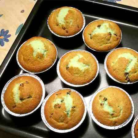 Muffin alla menta e gocce di cioccolato