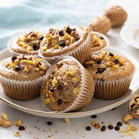 Muffin noci e gocce di cioccolato