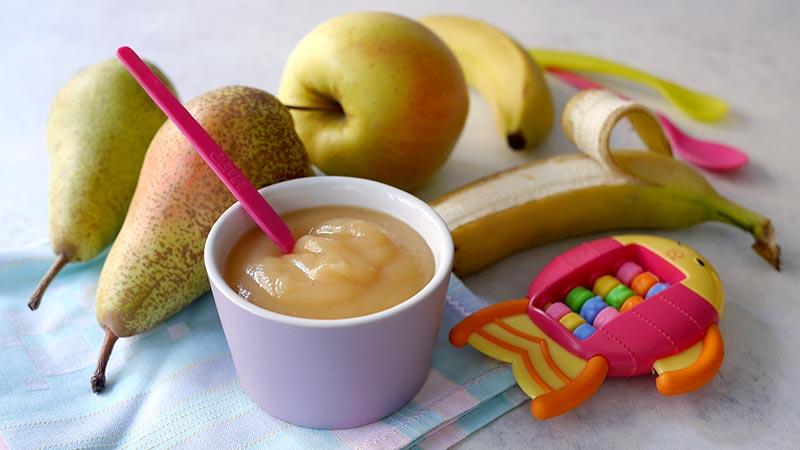 Omogeneizzato di mela, pera e banana