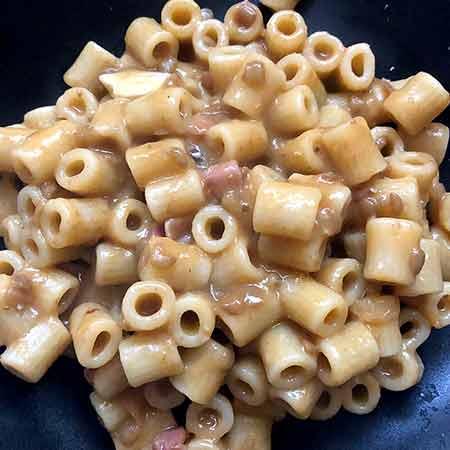 Pasta lenticchie e pancetta