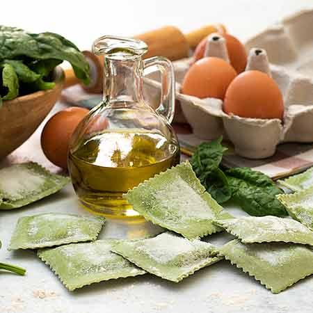 Pasta per ravioli agli spinaci