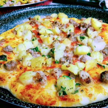 Pizza croccante in teglia