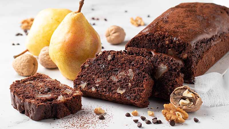 Plumcake al cioccolato pere e noci