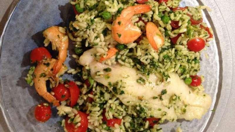 Riso e pesce con verdure a Varoma