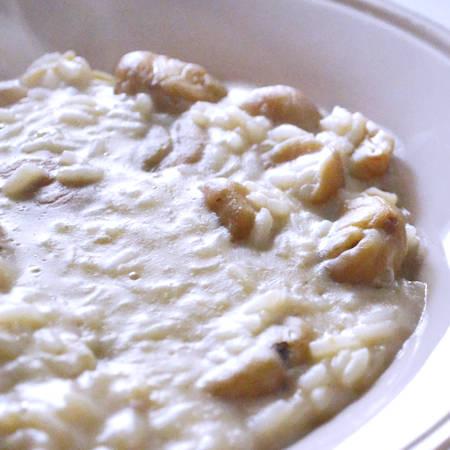 Risotto funghi, castagne e pancetta