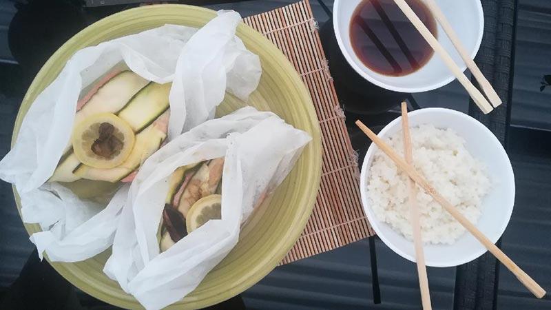 Salmone al cartoccio giapponese