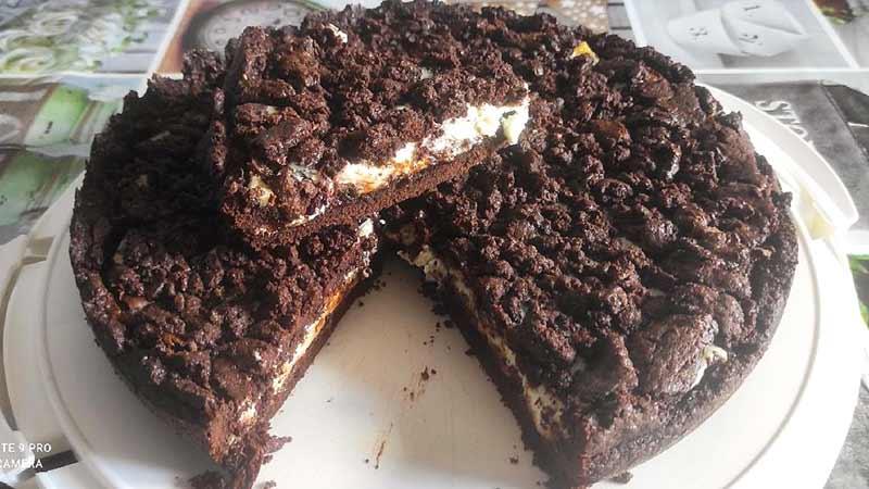 Sbriciolata al cacao con Nutella e mascarpone