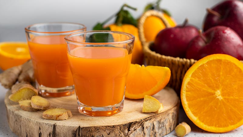 Succo di mela, zenzero e arancia