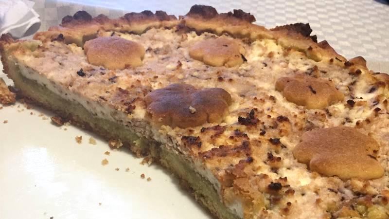 Torta ricotta e crema di pistacchio