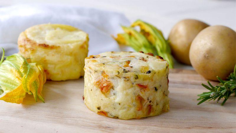 Tortini di patate e fiori di zucca