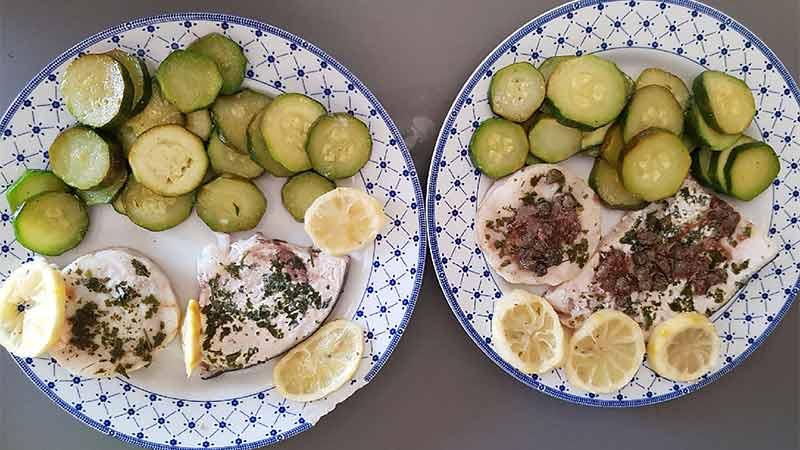 Tranci di pesce con zucchine al varoma