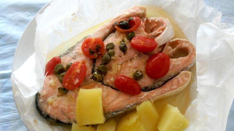 Tranci di salmone al cartoccio